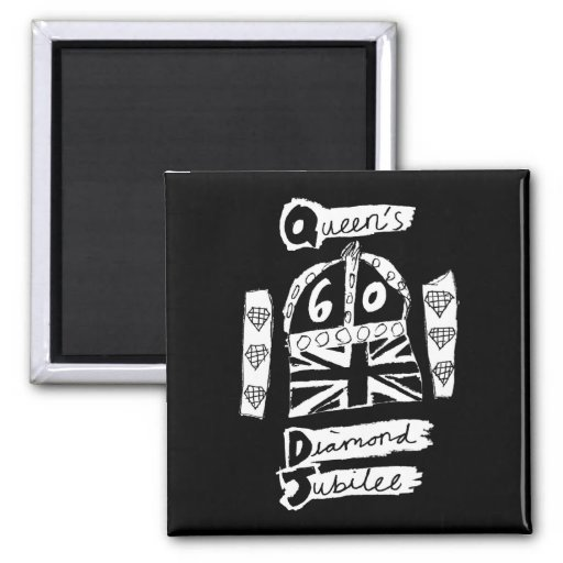 Queen's Diamond Jubilee 2012 Official White Emblem Refrigerator Magnets