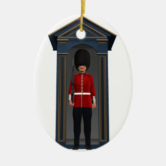 Queen's Guardsman In Shack Ceramic Oval Decoration