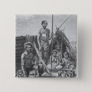 Queensland aborigines engraved from a photograph 15 cm square badge