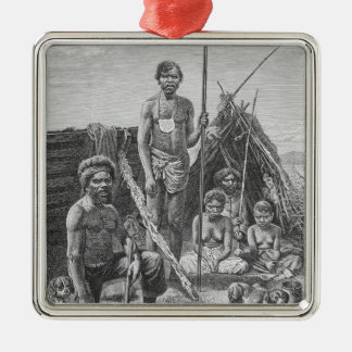 Queensland aborigines engraved from a photograph christmas ornament