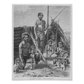 Queensland aborigines engraved from a photograph poster