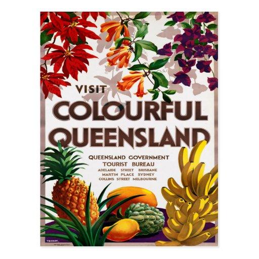 Queensland Australia Vintage Travel Poster Post Card