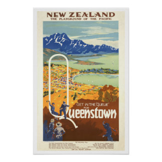 Queenstown, New Zealand ~ Vintage Travel Poster