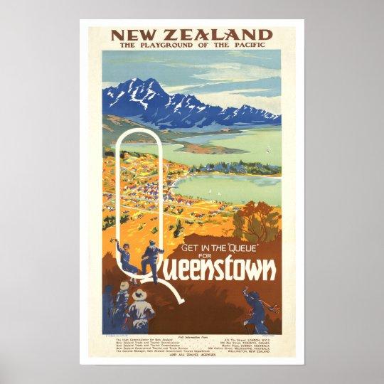 Queenstown, New Zealand ~ Vintage Travel Poster