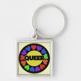 Queer Gay pride Silver-Colored Square Key Ring
