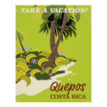Quepos Costa rican vintage style travel poster