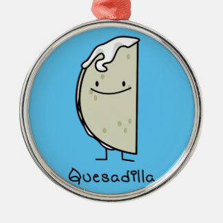 Quesadilla Mexican grilled Tortilla with Cheese Silver-Colored Round Decoration