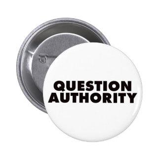 Question Authority - Black 6 Cm Round Badge