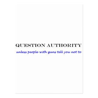 Question authority bumper sticker postcard