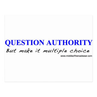 Question Authority Post Card