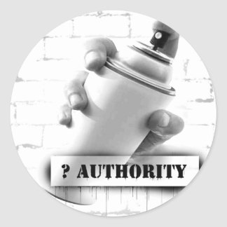 Question Authority - Spray Paint Can - Graffiti Round Sticker