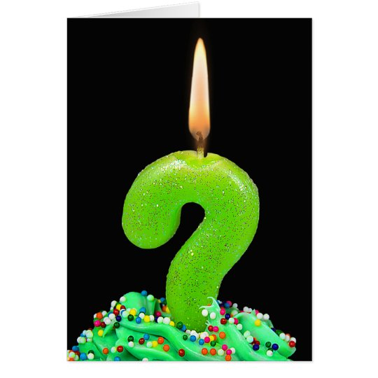 question mark birthday candle card