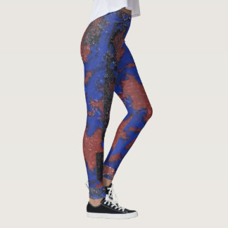 Question Mark Blue and Red painting Leggings