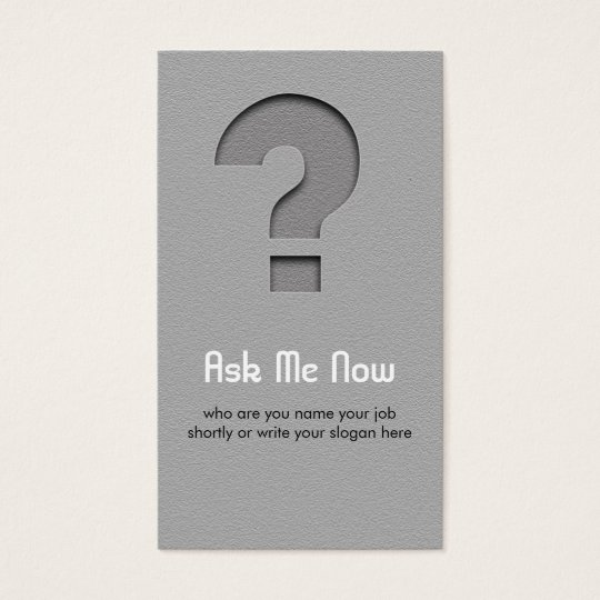 question mark business card