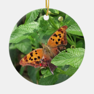 Question Mark Butterfly on Lantana Round Ceramic Decoration