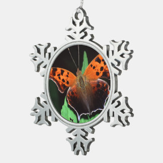 question mark butterfly pewter snowflake decoration