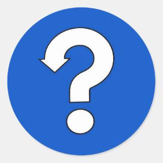 question mark classic round sticker
