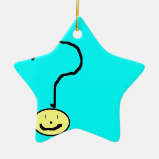 question mark emoji, digital art by kids :) ceramic star decoration