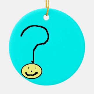 question mark emoji, digital art by kids :) round ceramic decoration