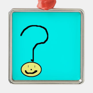 question mark emoji, digital art by kids :) Silver-Colored square decoration