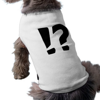 Question mark exclamation point sleeveless dog shirt