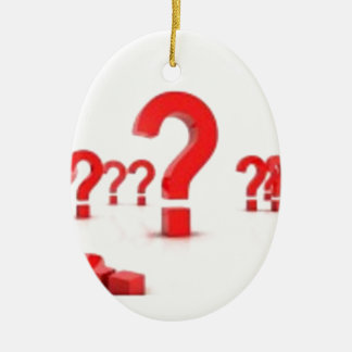 Question mark help ceramic oval decoration