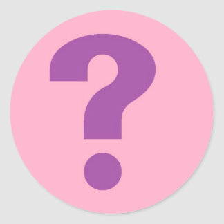 question mark purple on pink classic round sticker