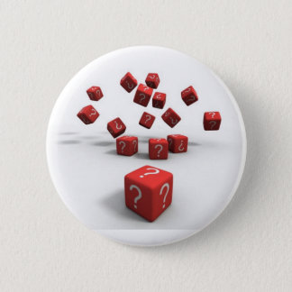question mark red dice 6 cm round badge