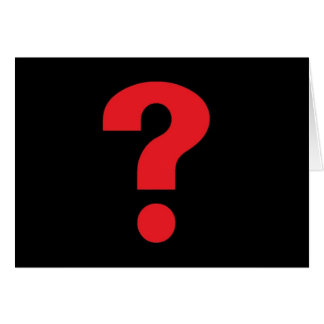 question mark red on black greeting cards