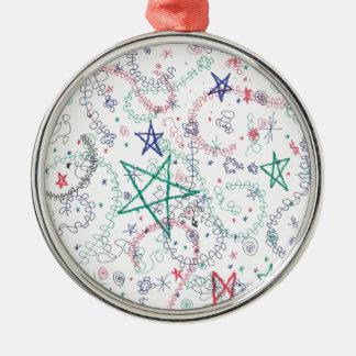 Question Mark Stars Silver-Colored Round Decoration