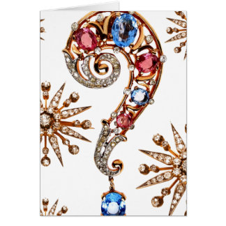Question Mark Vintage Costume Jewelry Blank Note Card