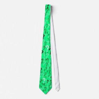 Question Marks Tie- White, Black, Spring Green Tie