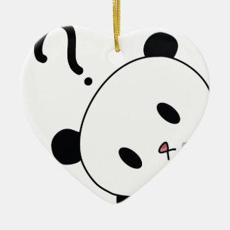 question time panda ceramic heart decoration