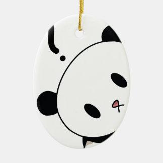 question time panda ceramic oval decoration