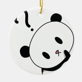 question time panda round ceramic decoration