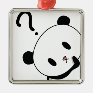 question time panda Silver-Colored square decoration