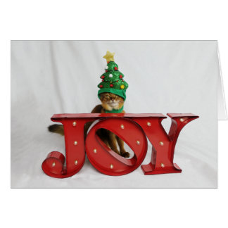 Questionable Joy Christmas Tree Cat Hat Card