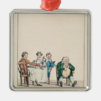Qui dort dine', caricature of a man sleeping christmas ornament