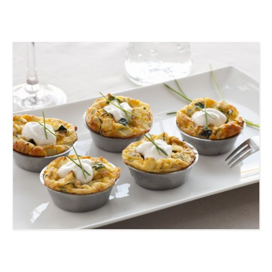 Quiche Appetizer on Table Postcard
