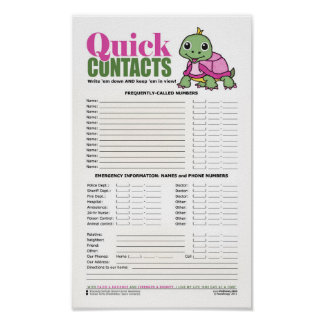 Quick Contacts [Turtle: Breast Cancer] Poster