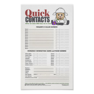 Quick Contacts w/LittleLamb Poster