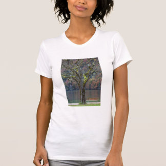 Quiet bench along a lake, Germany T-Shirt