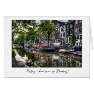 Quiet Canal Scene - Happy Anniversay Darling Greeting Card
