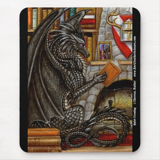 Quiet Evening Reading Dragon Mousepad