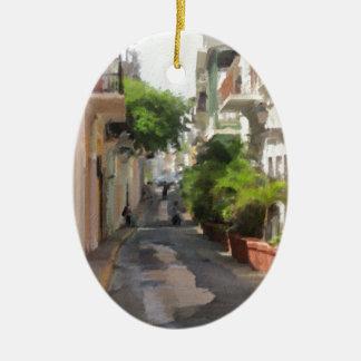 Quiet Little Street of Puerto Rico Christmas Ornament