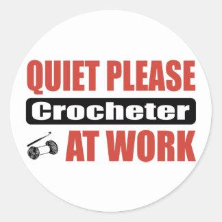 Quiet Please Crocheter At Work Round Sticker