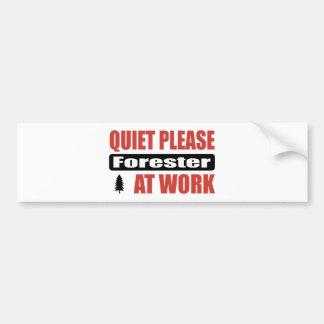 Quiet Please Forester At Work Bumper Sticker