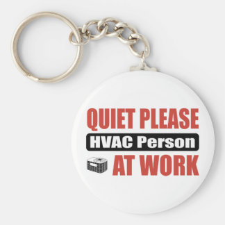 Quiet Please HVAC Person At Work Key Ring