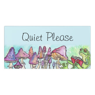 Quiet Please Reading Frog Door Sign