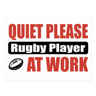 Quiet Please Rugby Player At Work Postcard